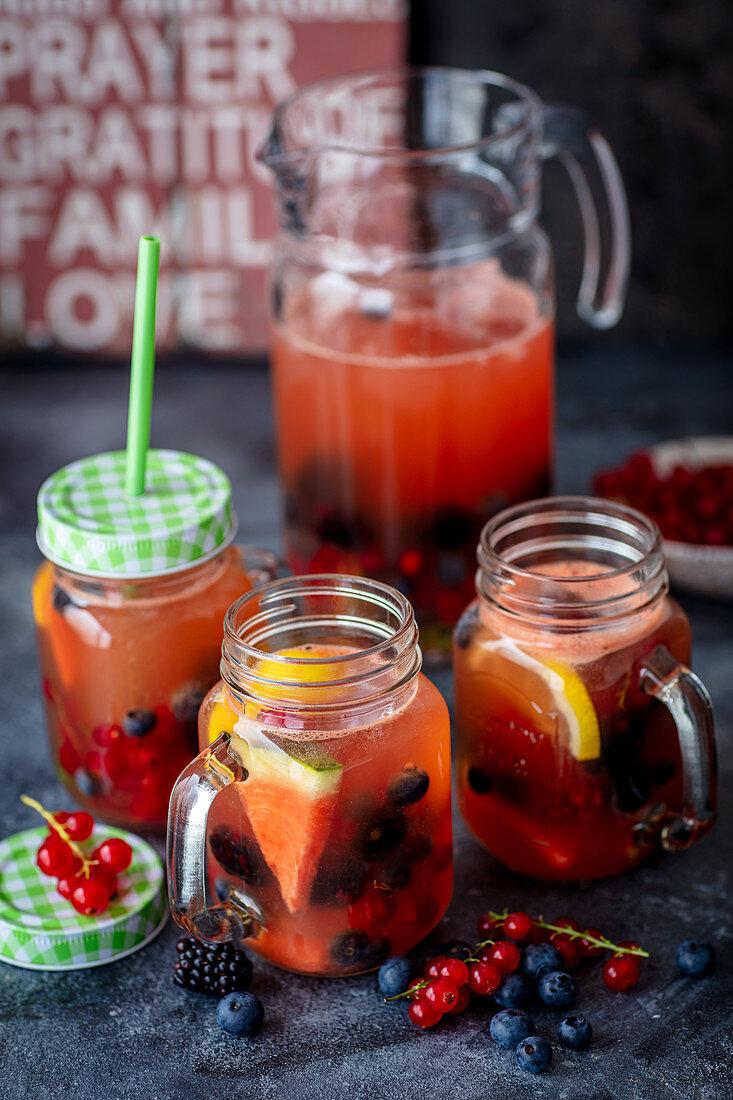Watermelon lemonade with summer berries