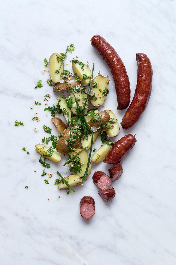 Montbeliard sausage and potato salad