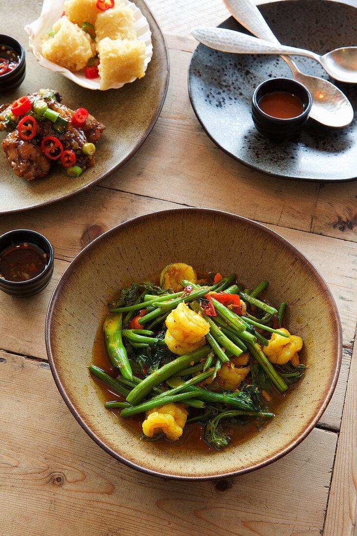 Thai prawn and bean stir fry