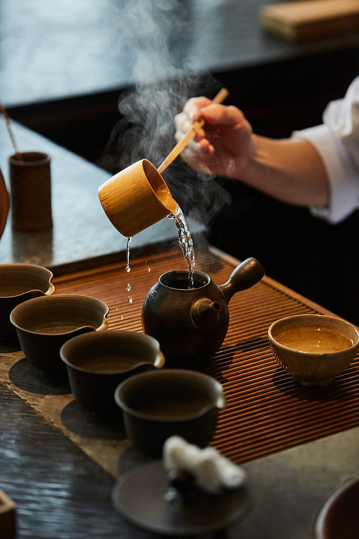 Serving Japanese tea