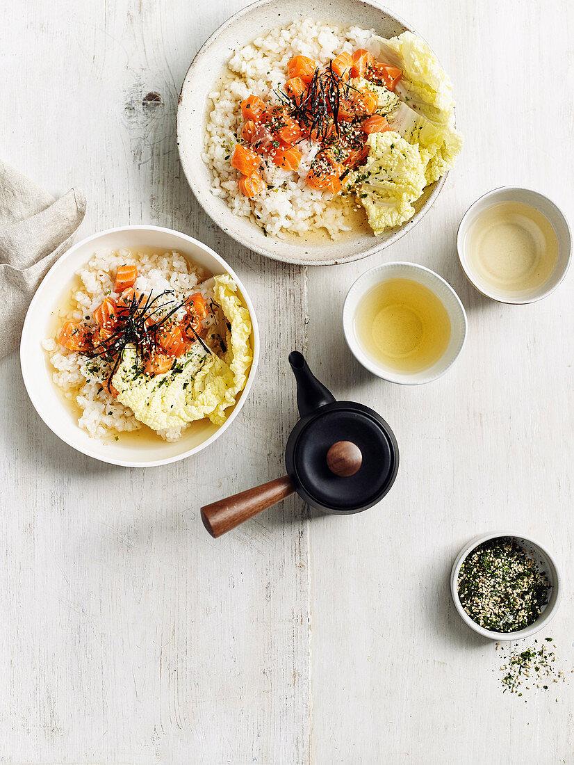 Ochazuke - one-rice bowlwith dashi, green tea and ocean trout