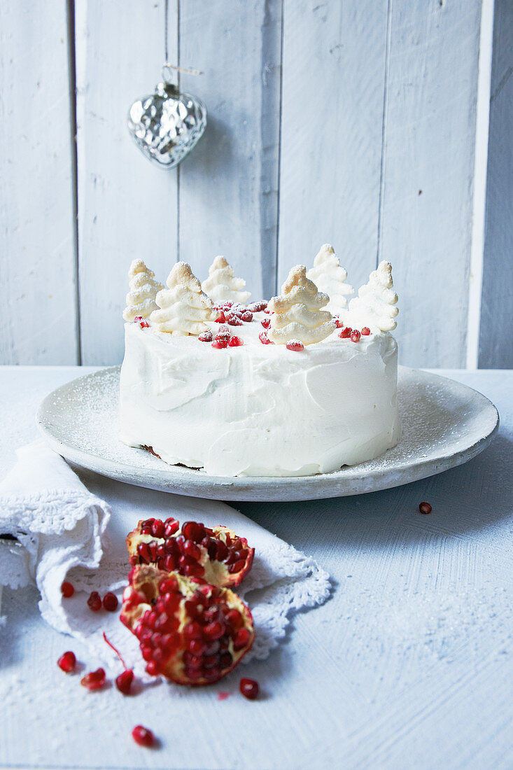 Winter apple cake decorated with snowy pine tree and pomegranate seeds