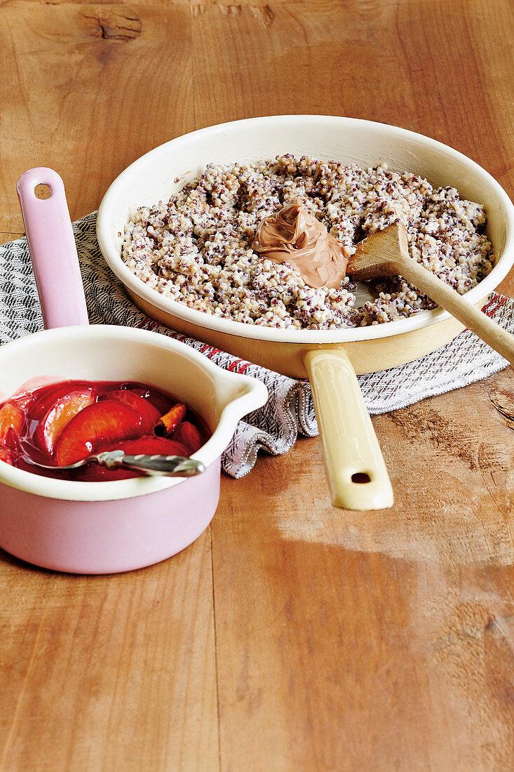 Quinoa porridge with plum compote