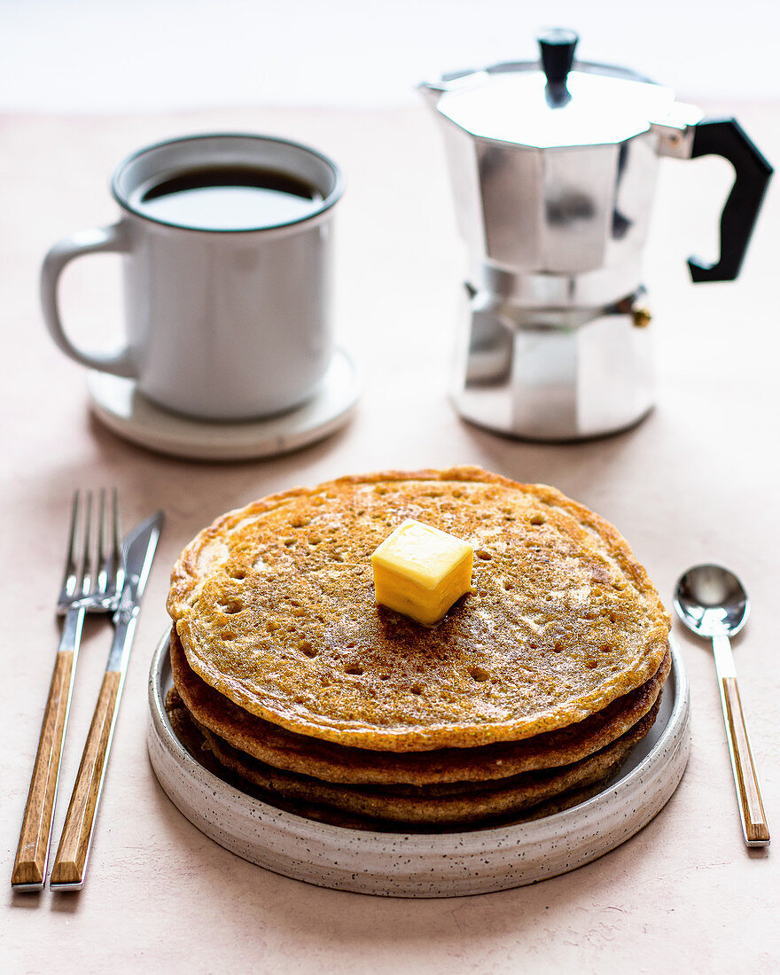 American pancakes with butter