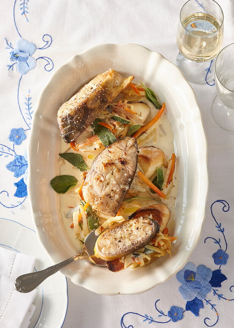 Carp with sage and rosemary South Bohemian style