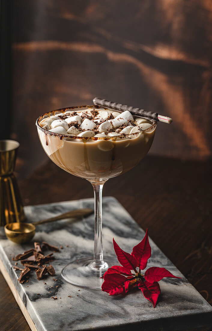 Chococolate martini with mini marshmallows