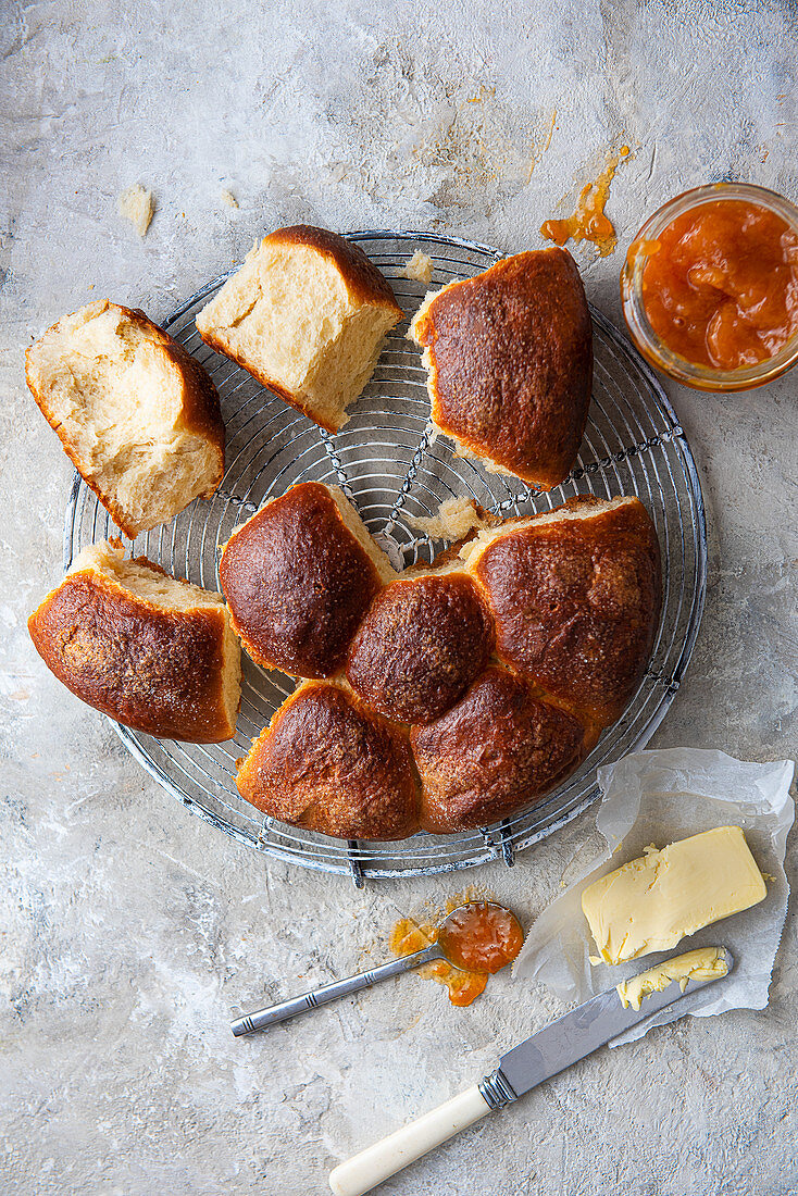 Japanese milk bread rolls with butter and apricot jam