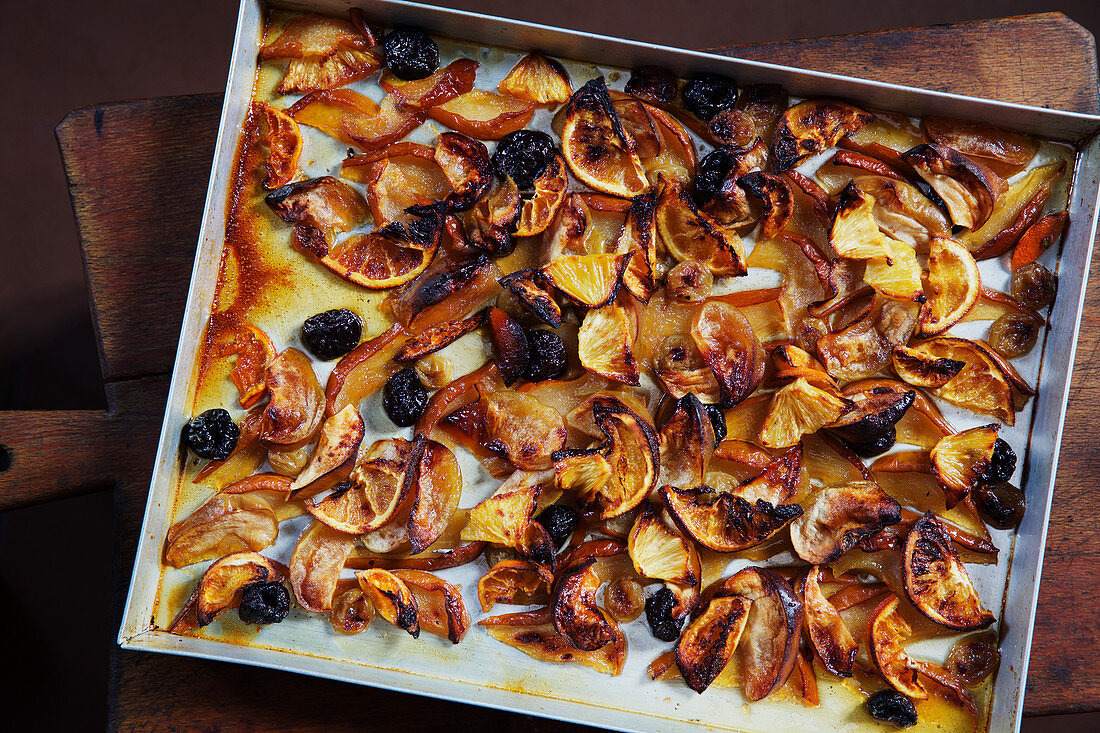 Juicy, Italian, roasted fruits on a baking sheet