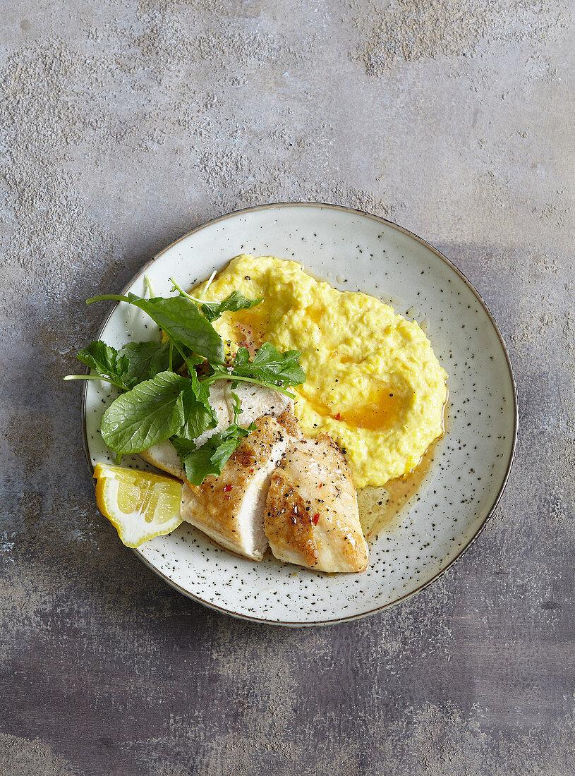 Chicken breast with sweet corn mash