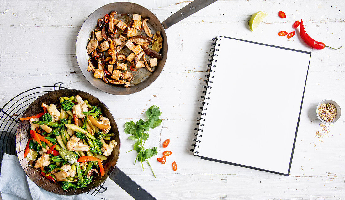 A vegetable dish with tofu and mushrooms