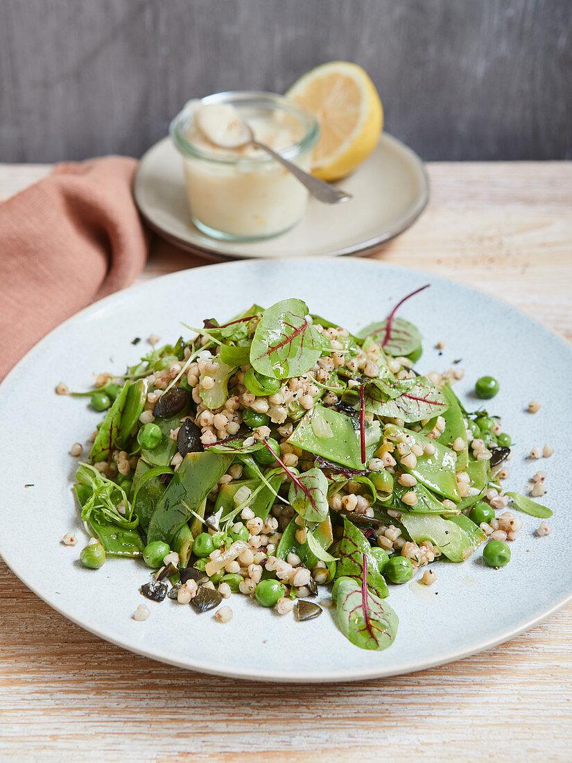 Warm buckwheat salad with an almond and lemon dressing