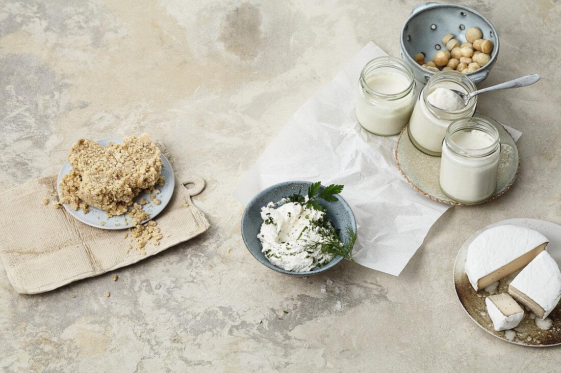 Vegan 'Parmesan', macadamia nut 'yoghurt' and almond 'cream cheese'
