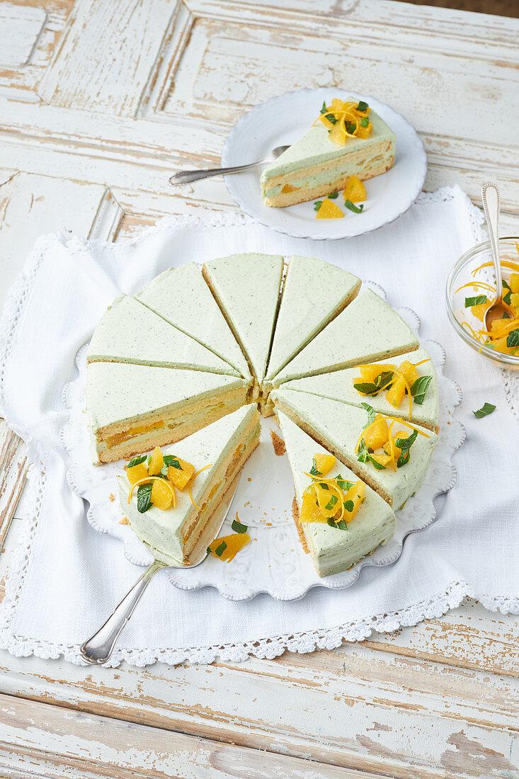 Orange cake with mint