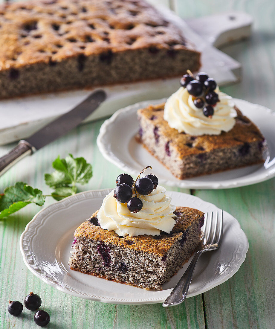 Poppy seed tray cake with black currant