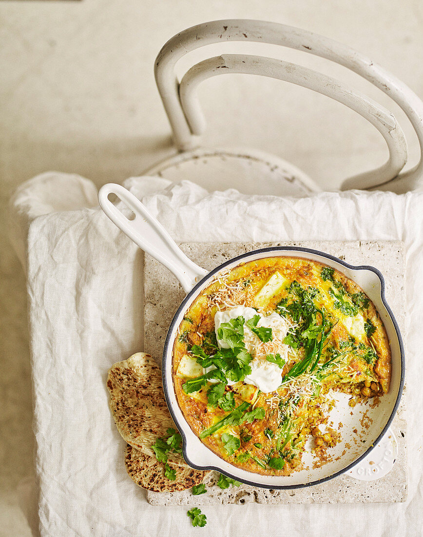 Dhal-spiced paneer and broccolini frittata