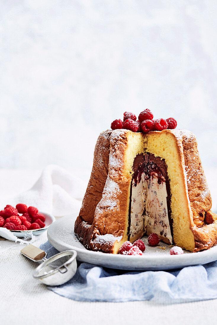 Make-ahead chocolate and hazelnut ice-cream Pandoro