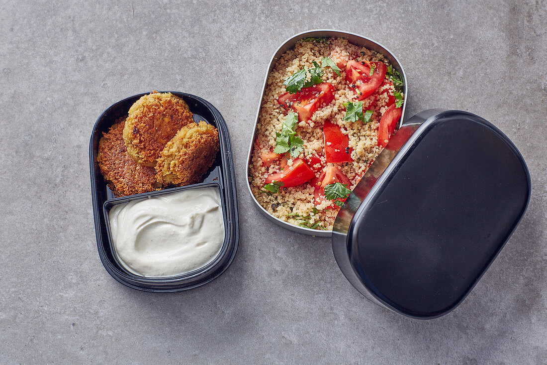Falafel fritters with a couscous salad to go