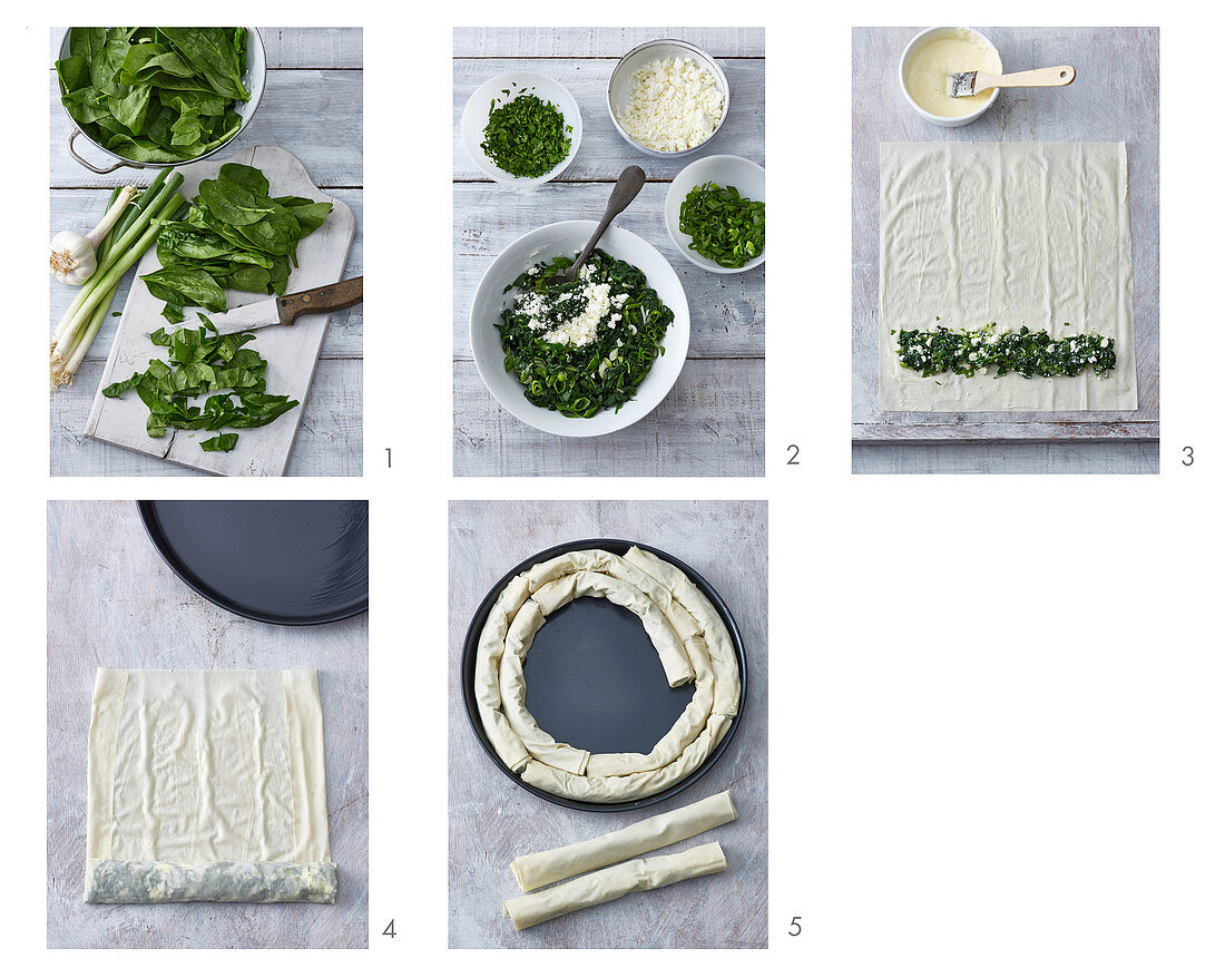 A borek spiral with spinach and feta cheese being made