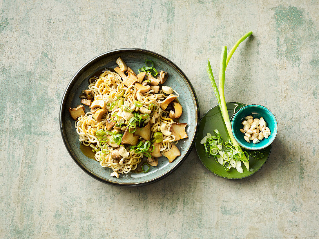 Fried mushrooms with oriental noodles