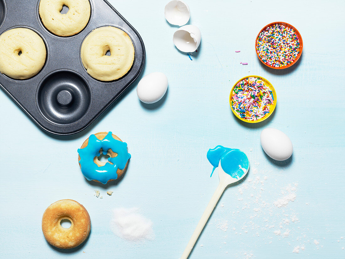 Colourful Sprinkled Donuts With Icing