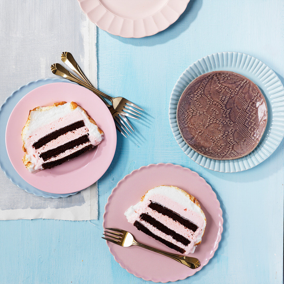 Slices of Baked Alaska Cake