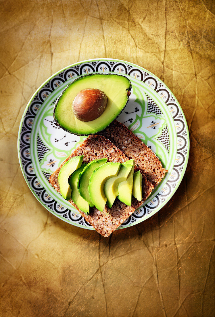 Whole grain bread with avocado