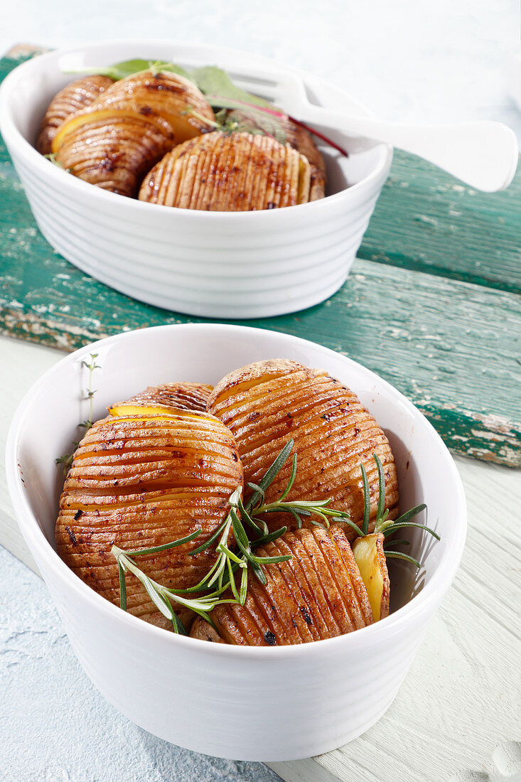 Roasted Hasselback potatoes with spices