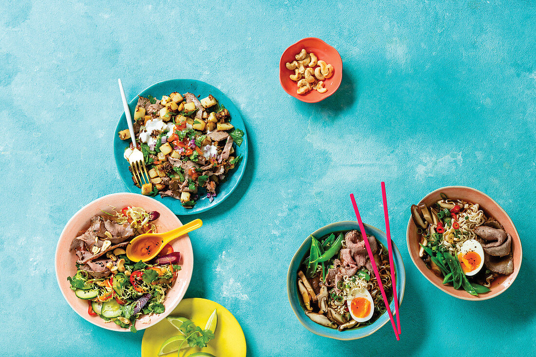 Quick Ramen with Two-Minute Hoodles, Spicy Beef and Potato Hash, Asian Beef and Brussels Sprout Salad
