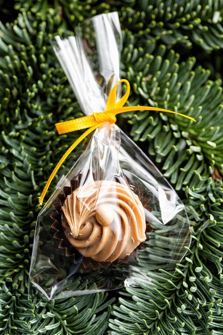 Homemade chocolates as an edible Christmas decoration