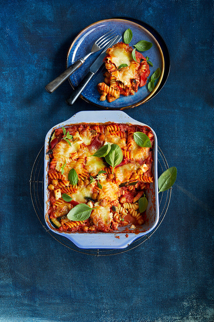 One-pot pasta casserole with antipasti vegetables and feta