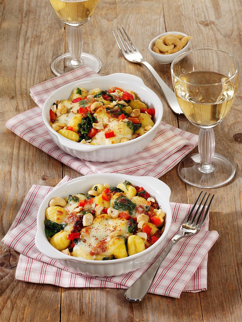 Spinat-Gnocchi-Auflauf mit Mozzarella