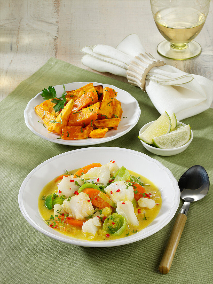 Caribbean stock pot with sweet potatoes and fish