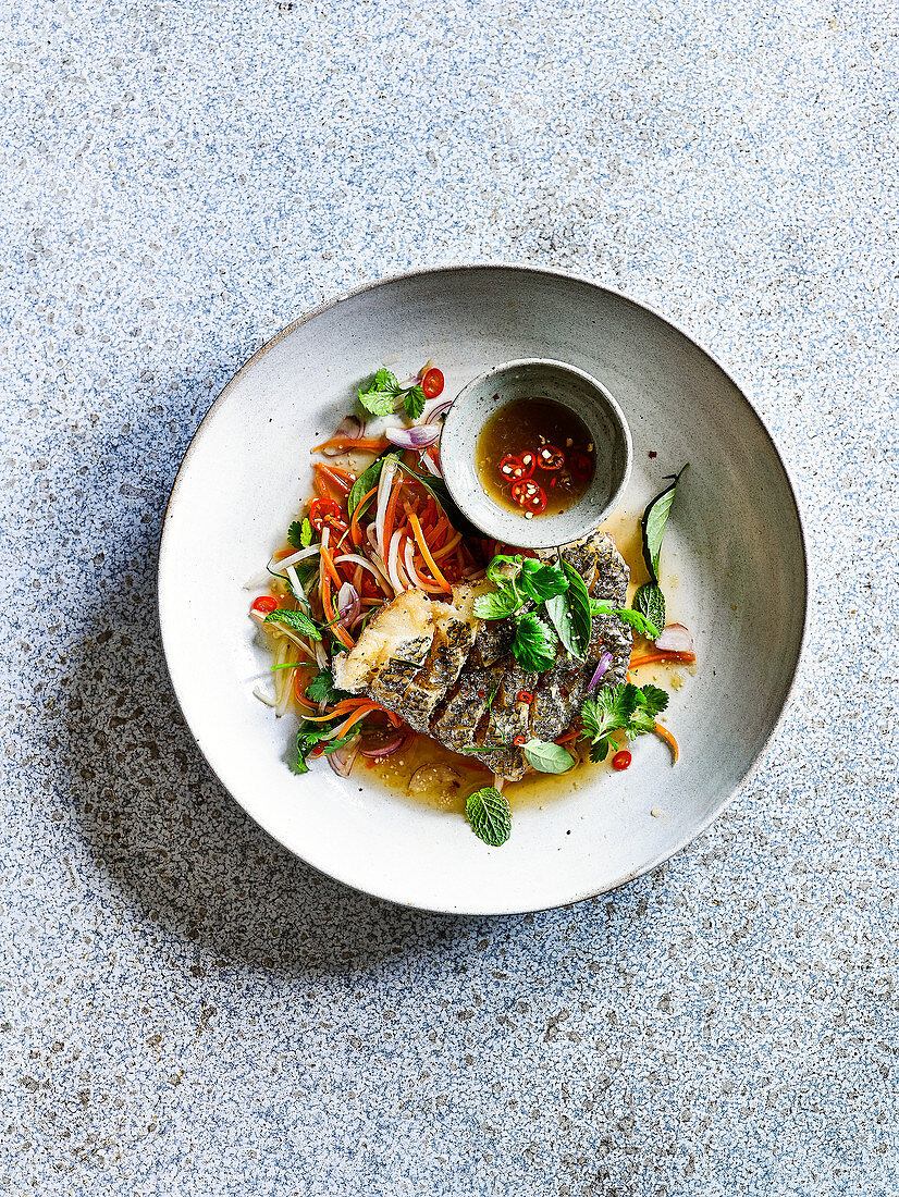 Scored Red Snapper with Green Mango Salad and Lime Chilli Dressing