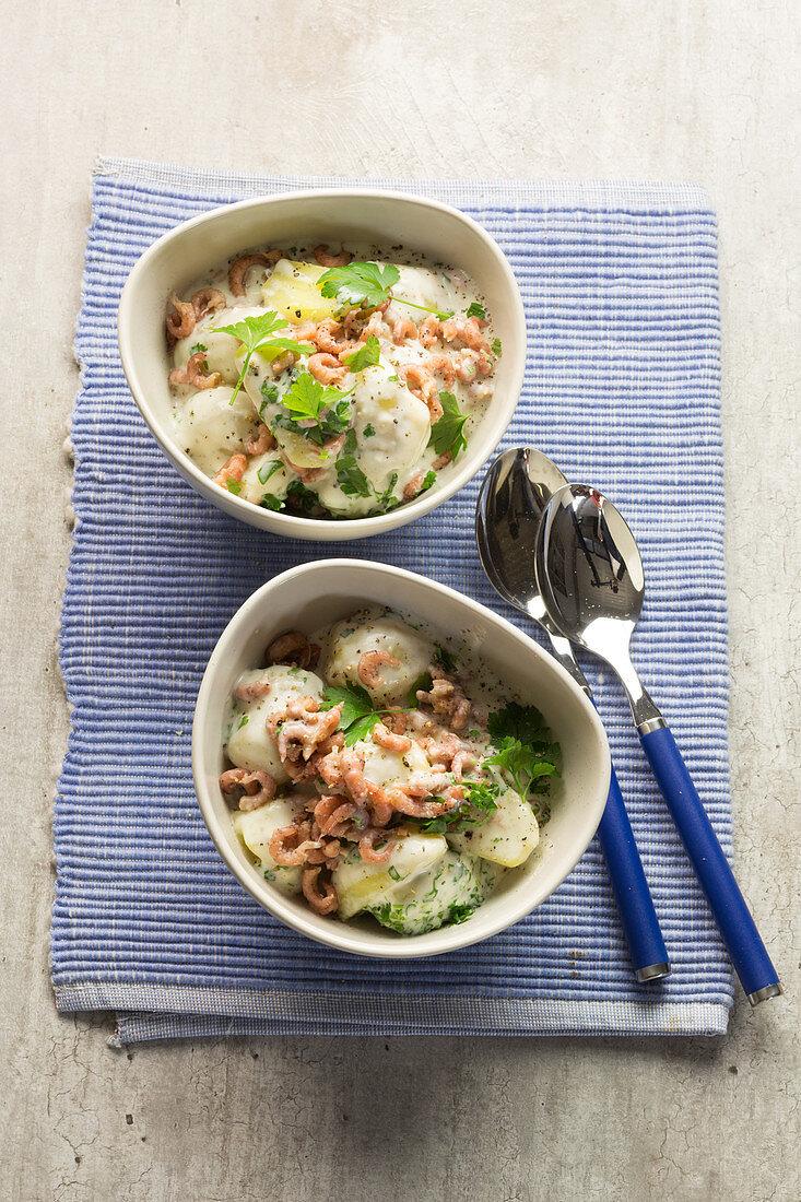 Freisian leek dish - potatoes with North Sea shrimps