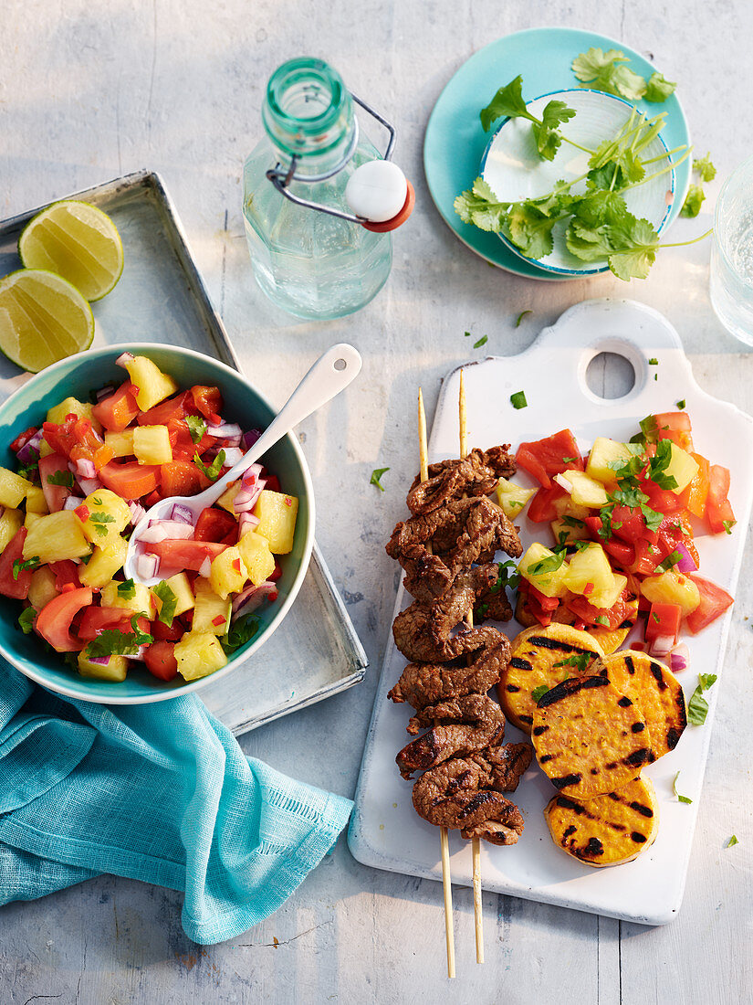 South American Churrasco-Steak with Pineapple Pepper Salad and Roasted Sweet Potatoes