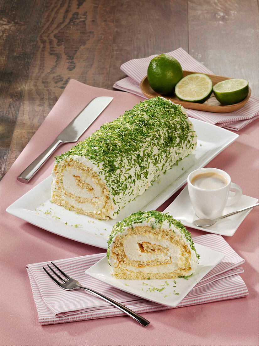 Lime and cream roll with mascarpone cream