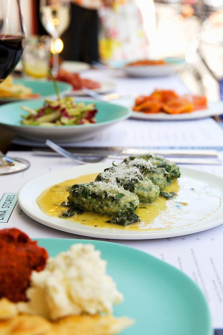 Outdoor dining: pasta, anti-pasti, gnudi