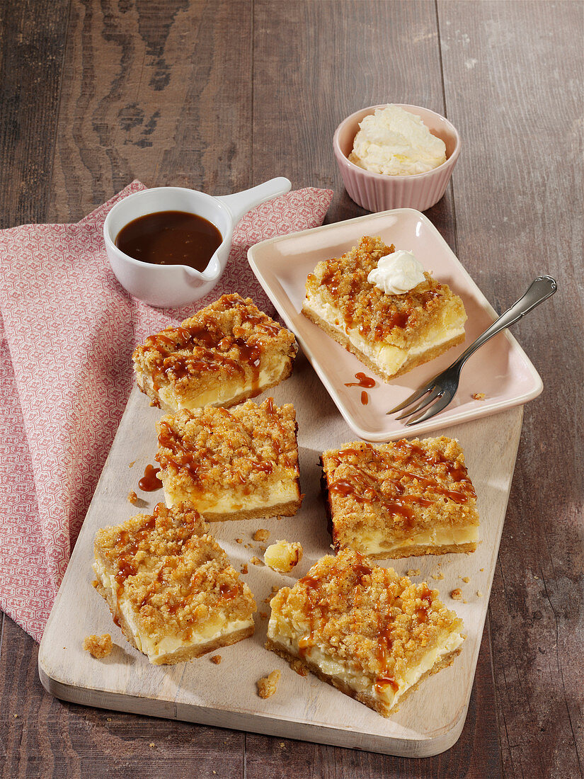 Apple and cheese sheet cake with sprinkles