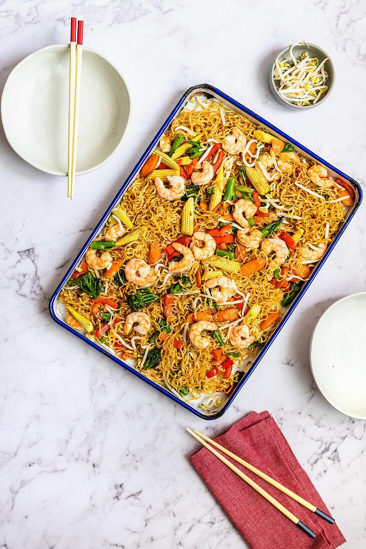 Sheet Pan Prawn Chow Mein with Ramen Noodles