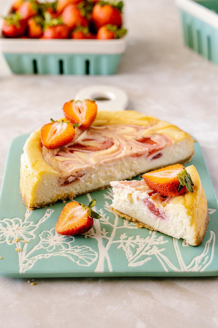 Strawberry swirl vanilla cheesecake