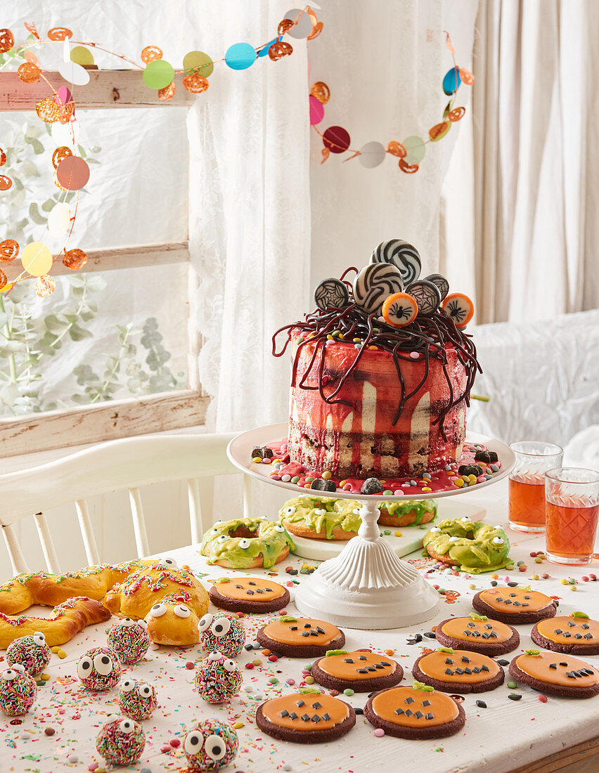 Buffet for Halloween with 'blood cake'