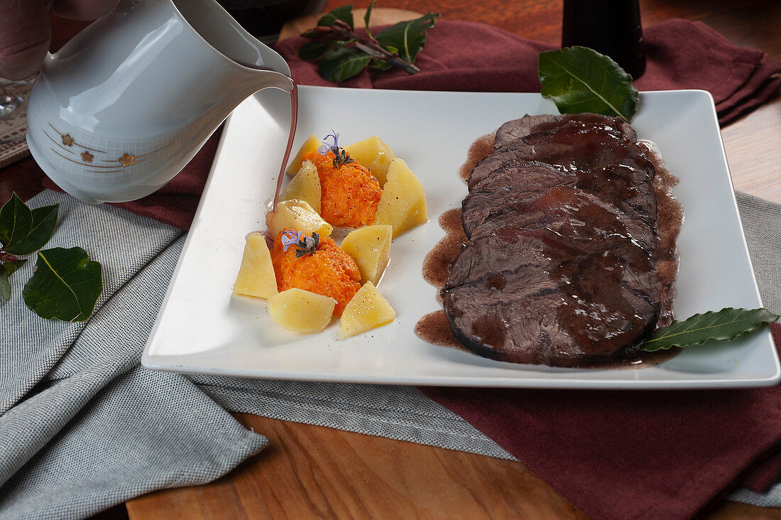 Braised beef in Barolo, with carrot quenelles and boiled potatoes