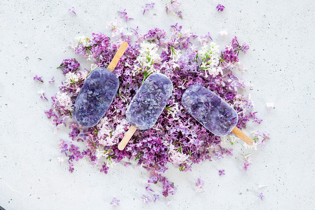 Lilac syrop popsicles
