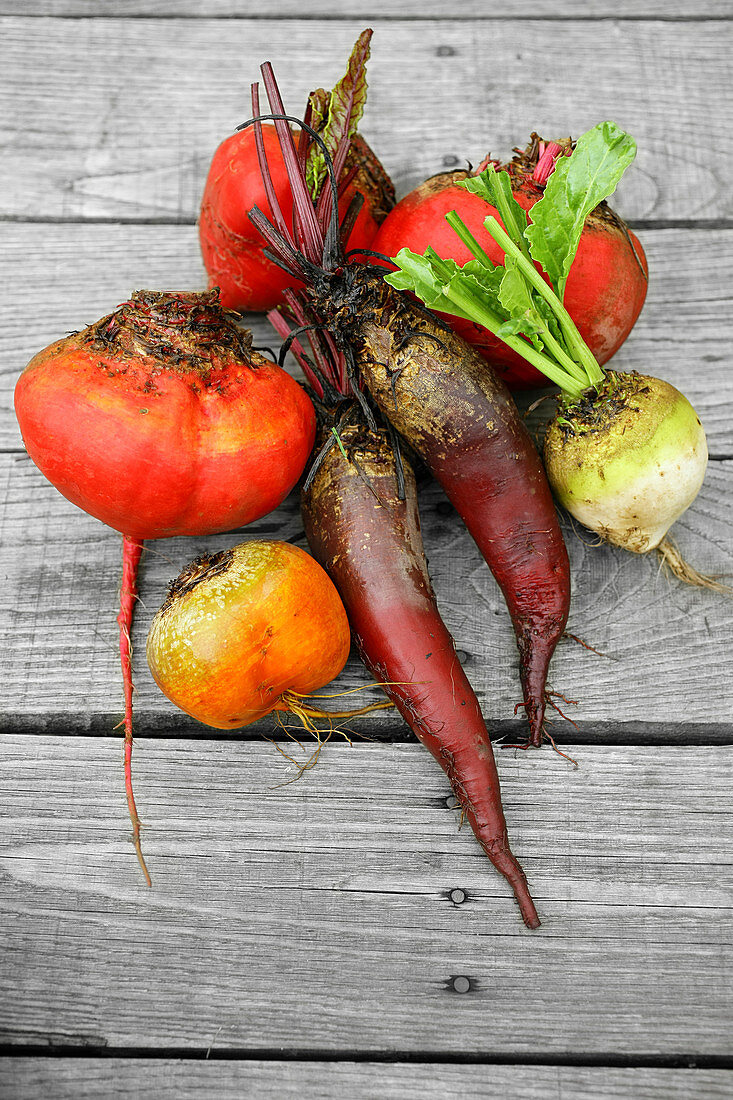 Topview colored vegetables from the garden ship red beetroot outside on old grey deck