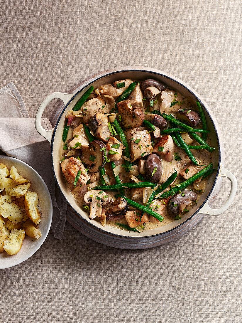 Chestnut Mushroom and Chicken Stew with Creamy Tarragon Sauce