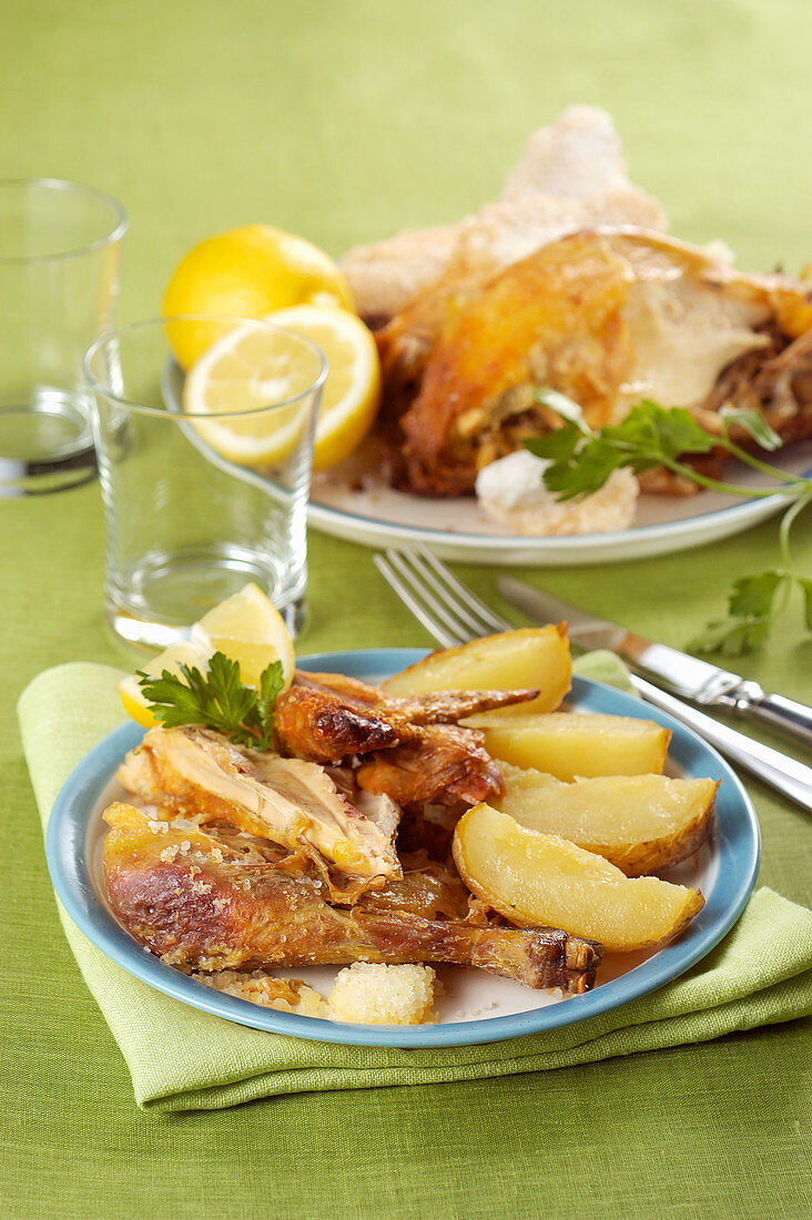 Brandy duck with potatoes