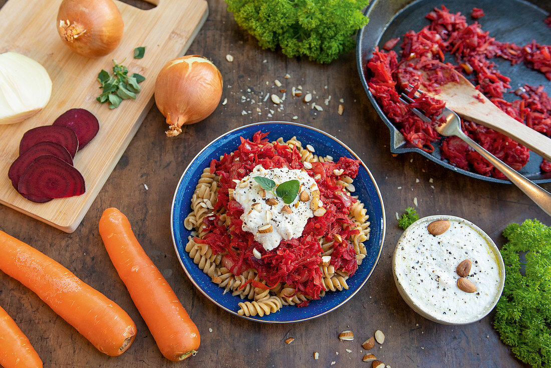 Vegan root vegetable pasta with almond 'ricotta'