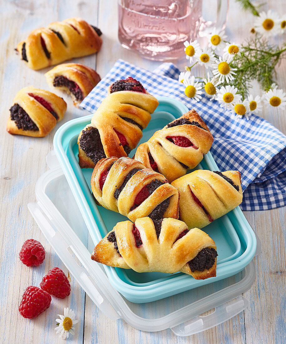 Pastries with poppy seed and raspberries