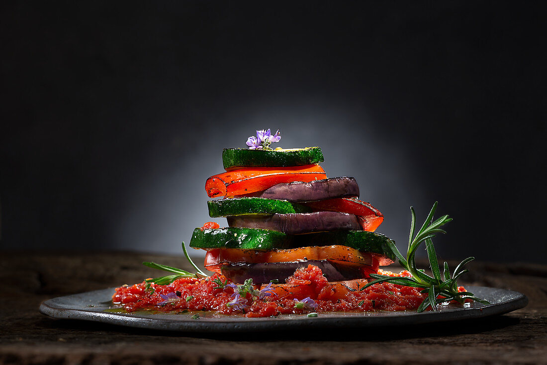 Deconstructed ratatouille with tomato pesto