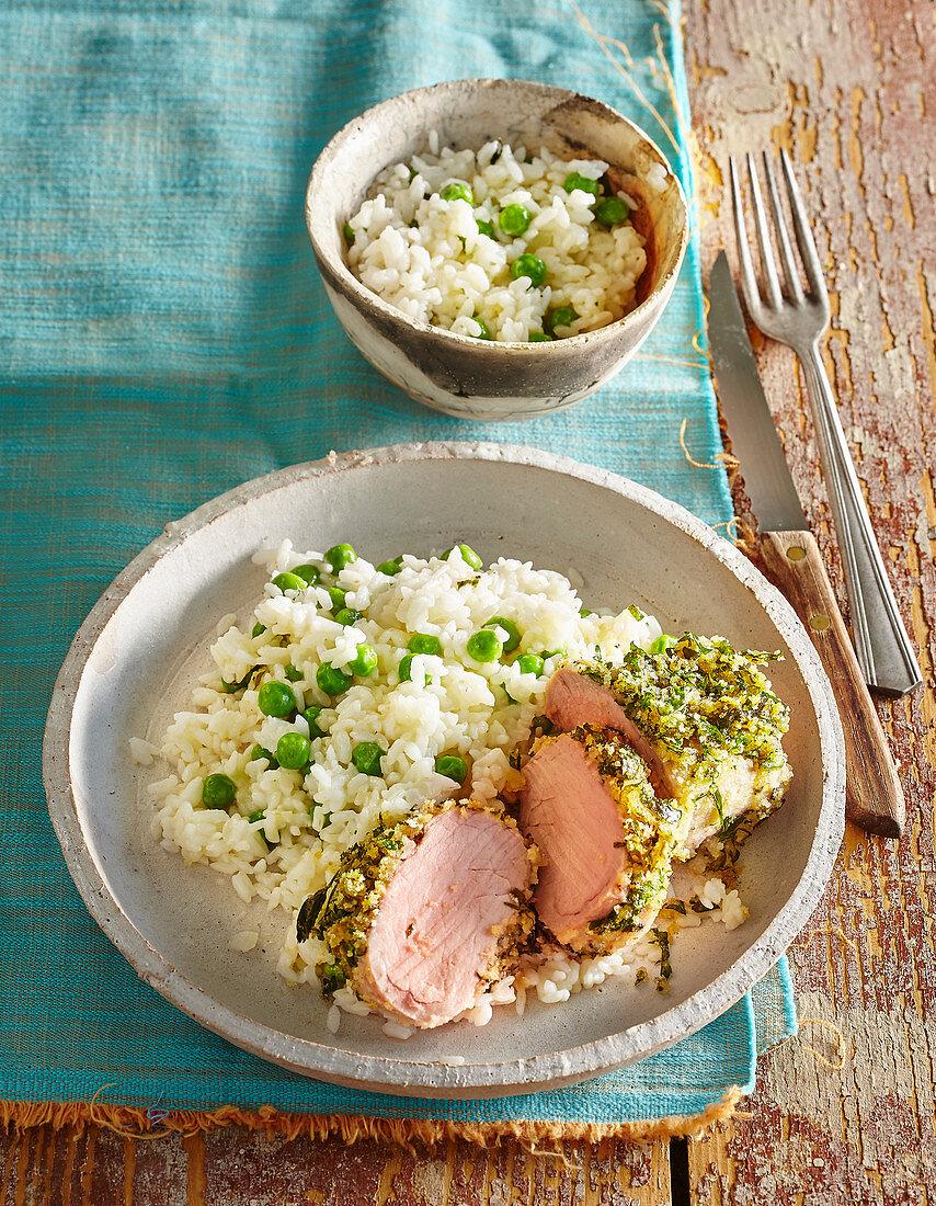 Pork sirloin with pea risotto